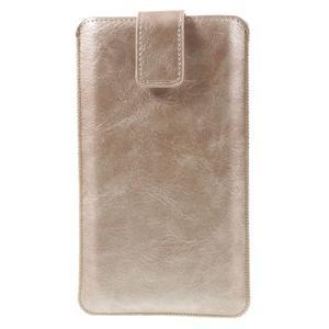 Univerzálne flipové puzdro pre mobily do 150 x 85 mm - zlatoružové - 3