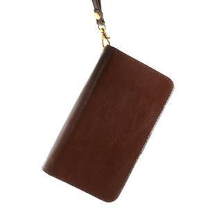 Univerzálne PU kožené puzdro pre mobil do 160 x 80 mm - hnedé - 3