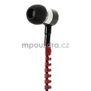 Dvoubarevná zipová sluchátka do uší, červená / čierná - 3