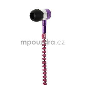 Dvoubarevná zipová sluchátka do uší, fialová / rose - 3