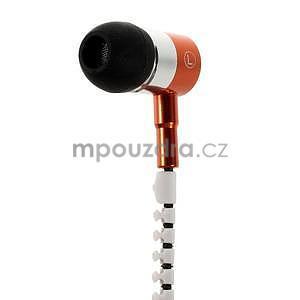 Dvoubarevná zipová sluchátka do uší, oranžová / bílá - 3