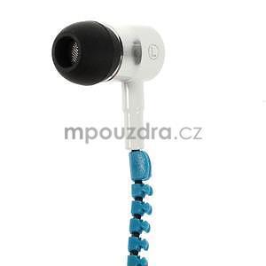 Dvoubarevná zipová sluchátka do uší, bílá / modrá - 3