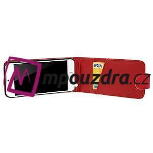 Kožené flipové puzdro pre iPhone 6, 4.7 - červené - 4