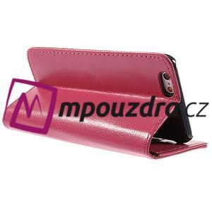 Peňaženkové kožené puzdro na iPhone 6, 4.7 - růžové - 4