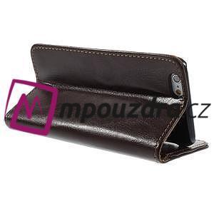 Peňaženkové kožené puzdro na iPhone 6, 4.7 - hnedé - 4