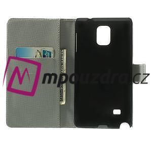 Peňaženkové puzdro pre Samsung Galaxy Note 4- fialový kvet - 4