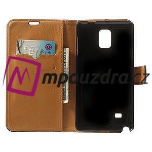 Peňaženkové kožené puzdro na Samsung Galaxy Note 4- čierné - 4