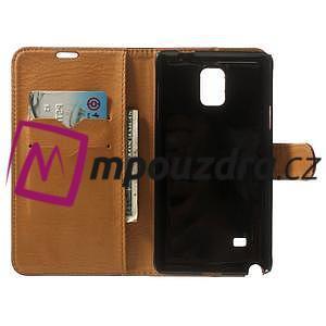 Peňaženkové kožené puzdro na Samsung Galaxy Note 4- hnedé - 4
