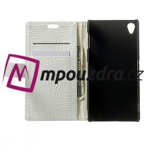 Peňaženkové PU kožené puzdro pre Sony Xperia Z3 D6603 - biele - 4