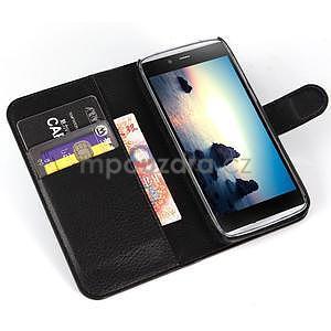 Peňaženkové puzdro pre Alcatel One Touch Idol Alpha 6032 A - čierné - 4