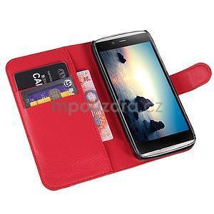 Peňaženkové puzdro pre Alcatel One Touch Idol Alpha 6032 A - červené - 4