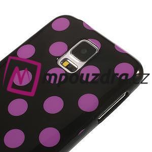 Gélové puntíkaté puzdro pre Samsung Galaxy S5- černofialové - 4