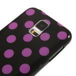 Gélové puntíkaté puzdro pre Samsung Galaxy S5- černofialové - 4/5