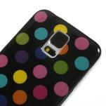 Gelové puntíkaté pouzdro na Samsung Galaxy S5- černobarevné - 4/5