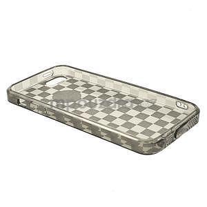 Gel-kostkaté puzdro pre iPhone 5, 5s- sivé - 4