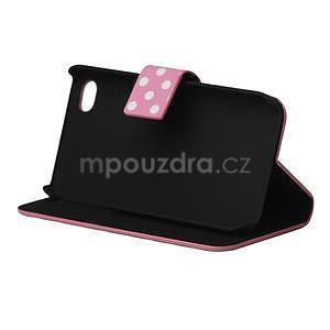 Peňaženkové puzdro pre iPhone 4, 4s- růžový puntík - 4