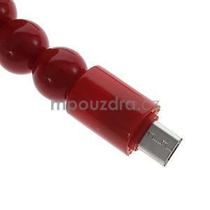 Korálkový náramek micro USB, červený - 4