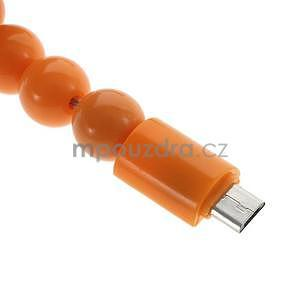 Korálkový náramek micro USB, oranžový - 4