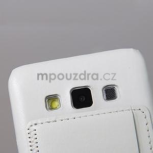 Kožený/plastový kryt se stojánkem na Samsung Galaxy A3 - biely - 4