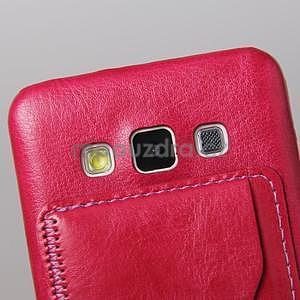Kožený/plastový kryt so stojanom pre Samsung Galaxy A3    - rose - 4