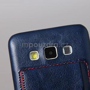 Kožený/plastový kryt se stojánkem na Samsung Galaxy A3 - modrý - 4