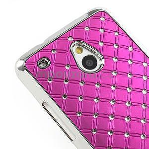 Drahokamové puzdro pre HTC one Mini M4- ružové - 4
