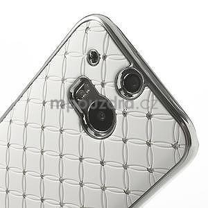 Drahokamové puzdro pre HTC one M8- biele - 4