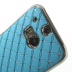 Drahokamové puzdro pre HTC one M8- svetlo modré - 4