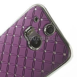 Drahokamové puzdro pre HTC one M8- fialové - 4