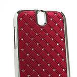 Drahokamové puzdro pre HTC One SV- červené - 4/5