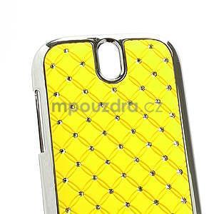 Drahokamové puzdro pre HTC One SV- žlté - 4