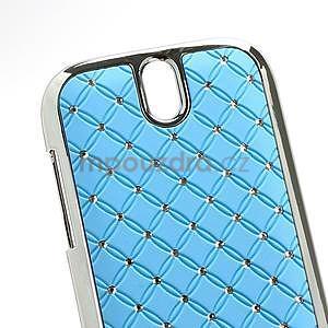 Drahokamové puzdro pre HTC One SV- svetlo modré - 4