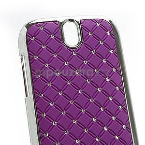 Drahokamové puzdro pre HTC One SV-fialové - 4