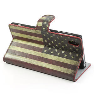 Peňaženkové puzdro pre Sony Xperia Z1 C6903 L39- USA vlajka - 4