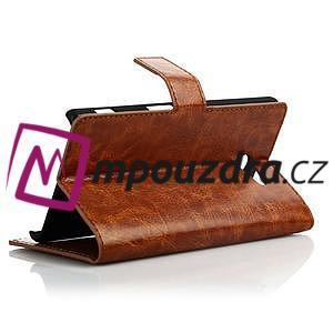 Peňaženkové kožené puzdro na Sony Xperia M2 D2302 - hnedé - 4