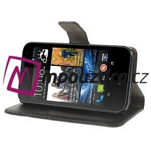 Peňaženkové kožené puzdro na HTC Desire 310- čierné - 4