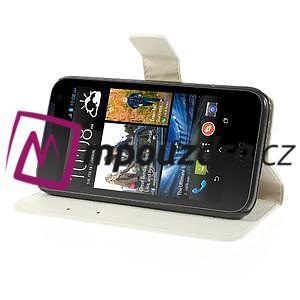Peňaženkové kožené puzdro na HTC Desire 310- biele - 4