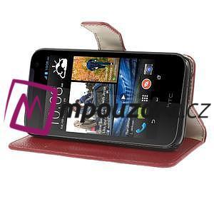 Peňaženkové kožené puzdro na HTC Desire 310- červené - 4