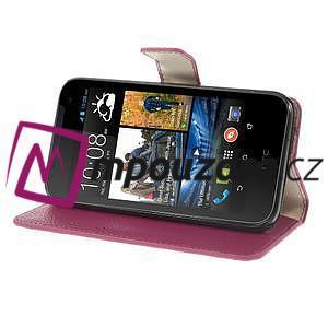 Peňaženkové kožené puzdro na HTC Desire 310- růžové - 4
