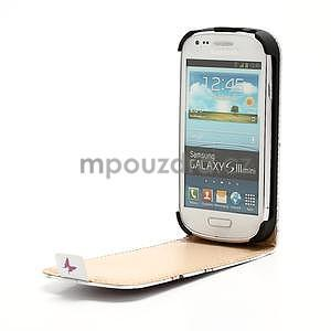 Flipové kožené puzdro pre Samsung Galaxy S3 mini / i8190 - motýlek - 4