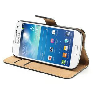 Peněženkové PU kožené pouzdro na Samsung Galaxy S4 mini i9190- černé - 4