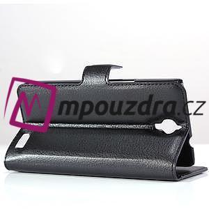 Peňaženkové kožené puzdro na Alcatel One Touch Idol OT-6030D- čierné - 4