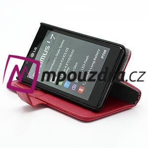 Peňaženkové puzdro na LG Optimus L7 P700 - červené - 4