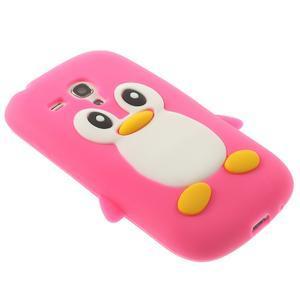 Silikonový tučniak puzdro pre Samsung Galaxy S3 mini i8190- ružový - 4