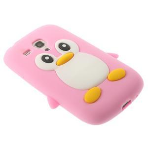 Silikonový tučniak puzdro pre Samsung Galaxy S3 mini i8190- svetloružový - 4