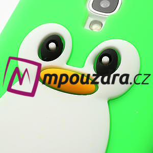 Silikonový Tučniak puzdro pro Samsung Galaxy S4 i9500- zelený - 4