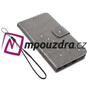Floay PU kožené puzdro s kamienky na mobil Honor 8 - šedé - 4