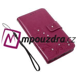 Floay PU kožené puzdro s kamienky pre mobil Honor 8 - rose - 4