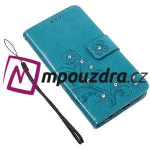 Floay PU kožené puzdro s kamienky na mobil Honor 8 - modré - 4