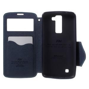 Diary PU kožené puzdro s okienkom na LG K8 - svetlomodré - 4